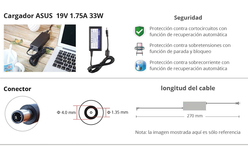 FSKE® 33W 19V 1.75A Cargador de Laptop para ASUS Zenbook X553M F553M X540S AC Adaptador,X540 UX305 Notebook EUR Power Supply,4.0 * 1.35mm