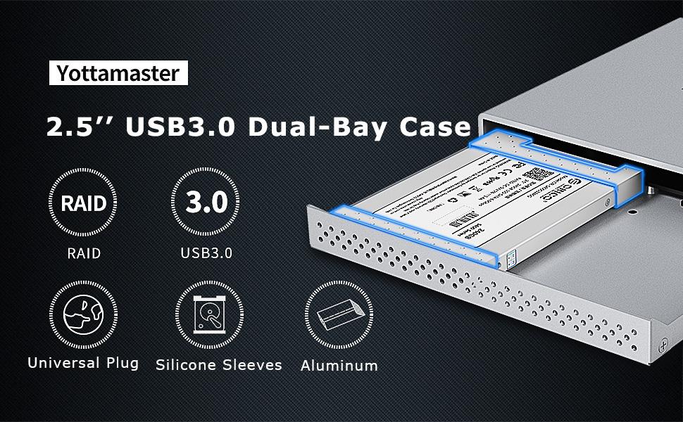 Yottamaster Aleación de Aluminio 2 Bay 2.5