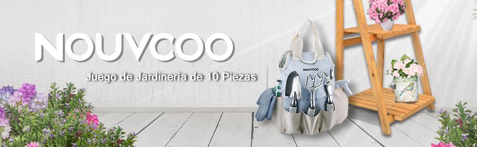 Set de Jardinería 10 Piezas NOUVCOO, Viene con Tijeras Acero ...