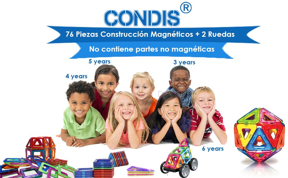 Condis Bloques de Construcción Magnéticos para niños, Juegos de Viaje Construcciones Magneticas imanes Regalos cumpleaños Juguetes Educativos para Niños Niñas de 2 3 4 5 6 7 8 Años Infantil, 78 Piezas: Amazon.es: Juguetes y juegos