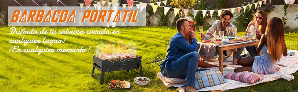 WOSTOO Barbacoa portátil Charcoal, minibarbacoa Plegable de carbón carbón, Barbacoa para Picnic, Barbacoa, jardín, Camping, Fiesta, Playa, Exterior, ...