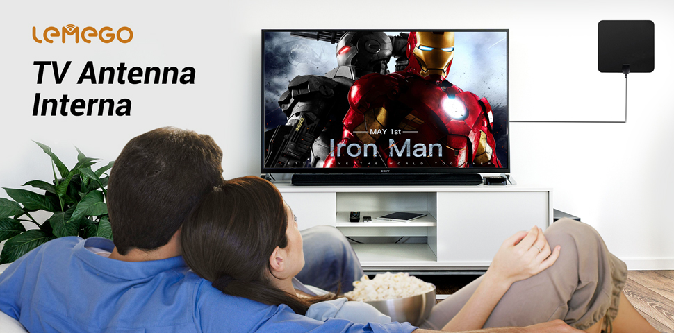 Antena de TV Interior Portátil, Lemego Antena Interior HDTV ...