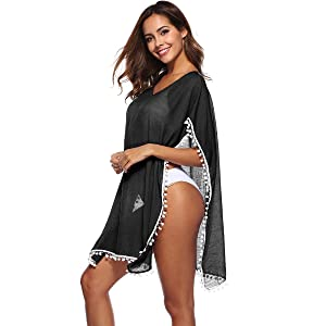 heekpek Womens Chiffon Tassel Beach Dress Swimwear Bikini Bathing Suit Beach Cover up Kaftan Swimsuit Cover Up Summer Casual Swimwear Bikini Beach ...