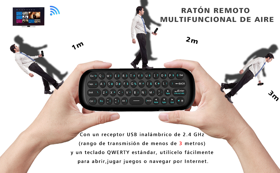 Teclado ergonómico con touchpad (RF 2.4 GHz, USB), color negro