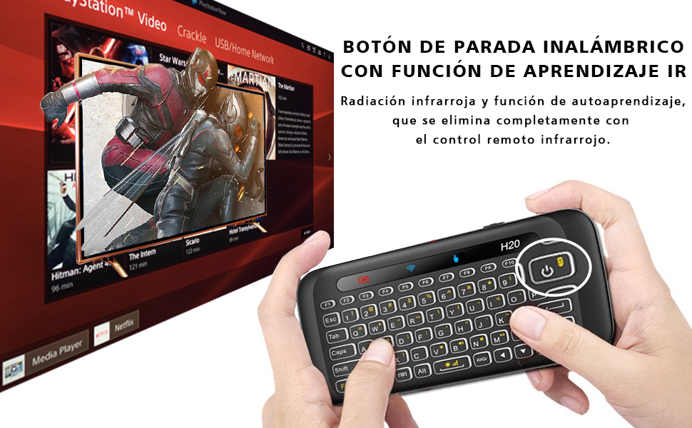 Mini Teclado H20 Retroiluminado Teclado Inalámbrico con Touchpad Mini Keyboard de Juegos Controlador 2.4GHz Teclado Ergonómico con Ratón para Smart TV, PC, Android TV Box, HTPC, IPTV, Soporta Windows: Amazon.es: Informática