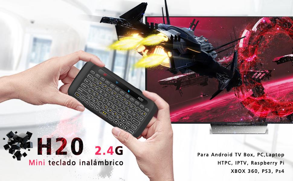 2.4G portátil Mini inalámbrico de doble cara teclado de control remoto y ratón de aire
