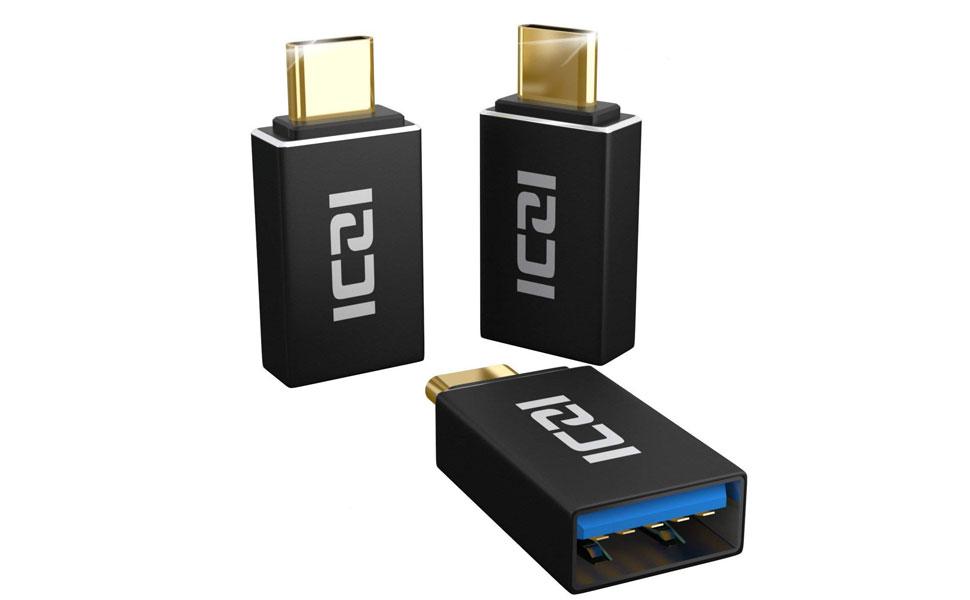 ICZI Adaptador USB Tipo C a USB 3.0 (3 Pack) Contactos chapados en Oro, Adaptadores USB OTG con Carcasa de Aluminio para Cables USB y Dispositivos ...