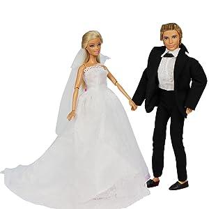Miunana 1 Vestido de Novia con Velo Blanco Vestir Boda Ropa para Muñeca Barbie y 1 Novio Traje de Ropa con Negro para Ken Muñeco Barbie Doll