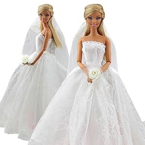 Amazon.es: Miunana 1 Vestido de Novia con 1 Velo Vestir Ropa Boda ...