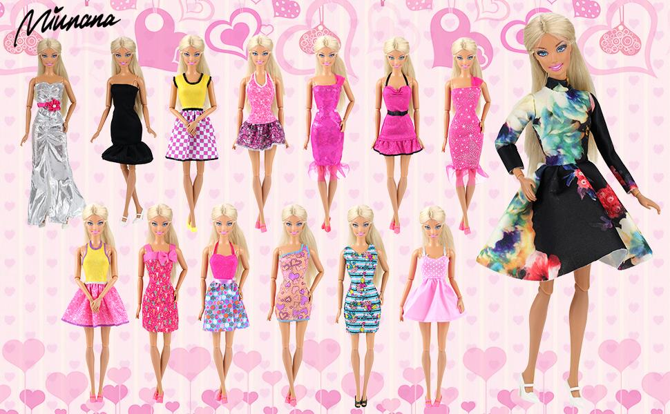 Miunana 5x Vestidos Ropas Vestir Falda de Fiesta Hechos a Mano Estilo al Azar para Barbie Muñeca Doll