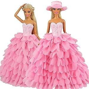 Miunana 1x Vestido de Noche + 1 Sombrero Vestir Ropa Fiesta Accesorios como Regalo para Muñeca Barbie Doll -Rosado