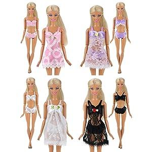 Miunana 4 Conjuntos Trajes de Pijamas Camisón Encaje con Ropa Interior Batas de Baño Atractivos Ropa para Muñeca Barbie Doll