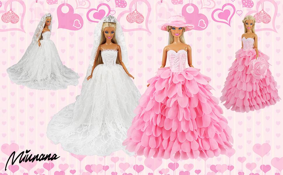 bc7300354 Miunana 2x Trajes de Vestidos Novia Princesa Juegos Ropa Vestir Nupcial  Ropa Fiesta Boda para Regalo de la Muñeca Barbie Doll COMO LA IMAGEN