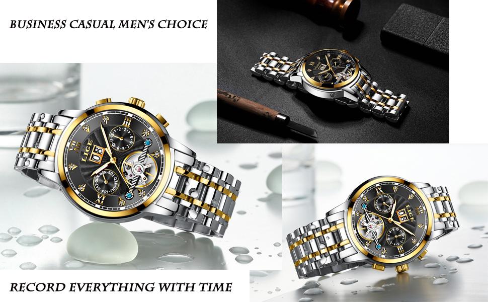 El peso del reloj correspondiente, el brazalete de acero inoxidable de alta calidad y la superficie lisa de la banda, hacen que este reloj sea muy cómodo de ...