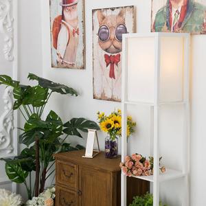QIANGUANG® Iluminación interior Lámpara de pie de madera de 1,6 m con estantes para dormitorio y sala de estar (sin bombilla) (Black)