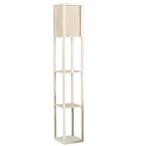 QIANGUANG® Iluminación interior Lámpara de pie de madera de 1,6 m con estantes para dormitorio y sala de estar (sin bombilla) (White)