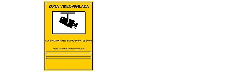 Cartel Zona Videovigilada A5 interior/exterior, Cartel Disuasorio PVC expandido, Placa Disuasoria 21x15 cm, amarillo