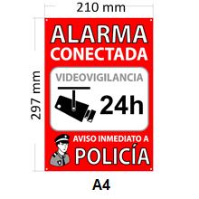 tualarmasincuotas.es Pack de 2 Carteles Disuasorios Alarma Conectada + 6 Pegatinas de Seguridad Aviso a Policía + 2 Pegatinas Zona Videovigilada: Amazon.es: Electrónica