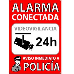 ★★★★★ Pack o Lote de 3 Carteles disuasorios A5 interior/exterior, placa disuasoria PVC expandido, cartel alarma conectada, 21x15 cm, rojo ★★★★★