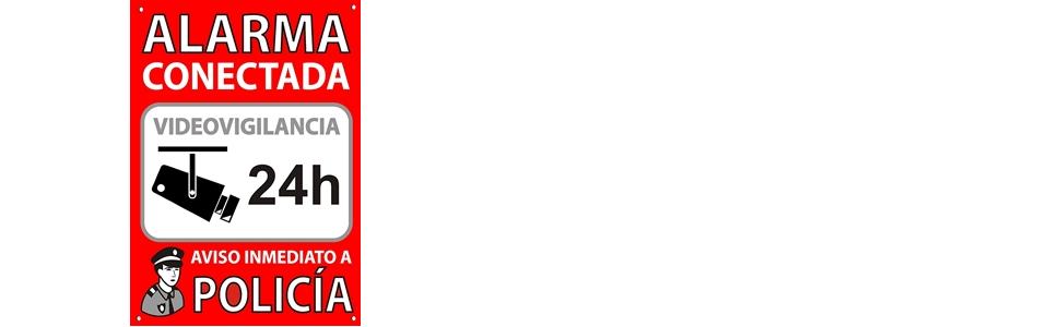 ★★★★★ Cartel disuasorio A5 Interior/Exterior, Placa disuasoria PVC expandido, Cartel Alarma conectada, 21x15 cm Rojo ★★★★★