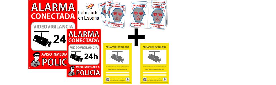 tualarmasincuotas.es Pack o Conjunto de 2 Carteles Disuasorios + 6 Pegatinas de Seguridad + 2 Pegatinas Zona Videovigilada para Interior/Exterior