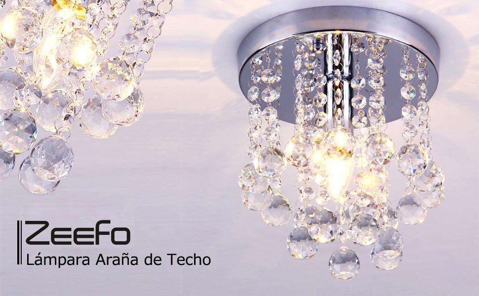 ZEEFO Lámpara Araña de Techo de Cristal, Luminaria Mini Estilo Moderno Decoración Instalación Fija con Lámpara de Techo de Cristal K9 para Recibidor, ...