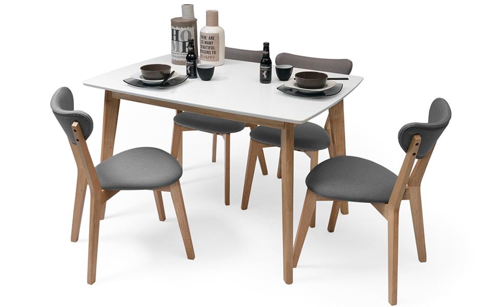 Homely - Conjunto de Comedor de diseño nórdico MELAKA Mesa ...