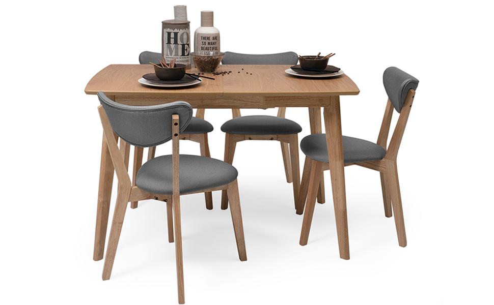 Homely - Conjunto de Comedor de diseño nórdico MELAKA Mesa Extensible Roble  y 4 sillas tapizadas - Gris