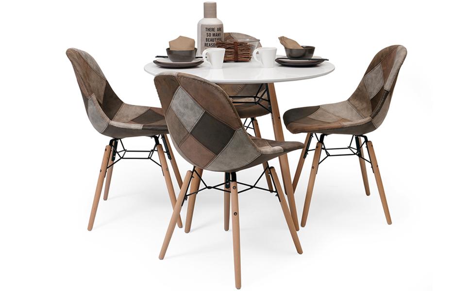 Homely - Conjunto de Comedor de diseño nórdico BONIE & CLIDE Mesa Redonda 90 cm y 4 sillas Patchwork: Amazon.es: Hogar