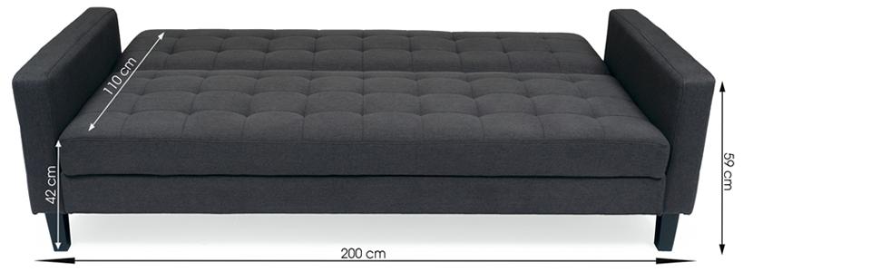 Homely - Sofá Cama de 3 plazas con Brazos y Apertura Clic-clac Samui tapizado Tela Gris de 200 cm - BT-17 CARBÓN