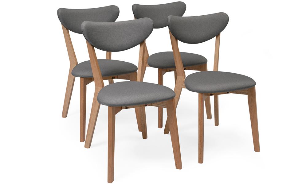 Homely - Pack de 4 sillas de Comedor MELAKA tapizadas en Tela y ...