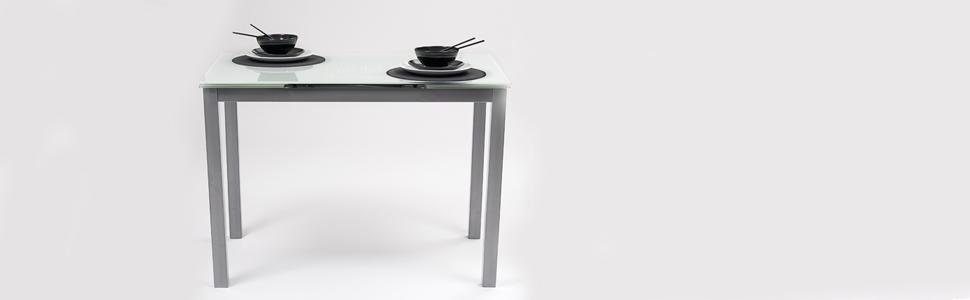 Homely Mesa de Cocina Extensible Paris Estructura en Metal Gris y ...