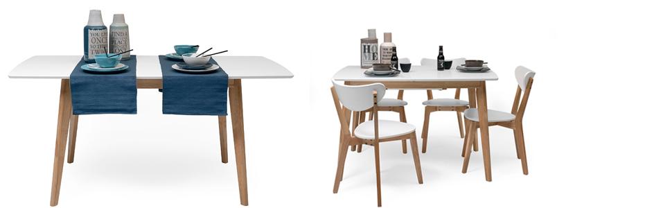 Homely - Mesa de Comedor-Cocina Extensible de diseño nórdico ...