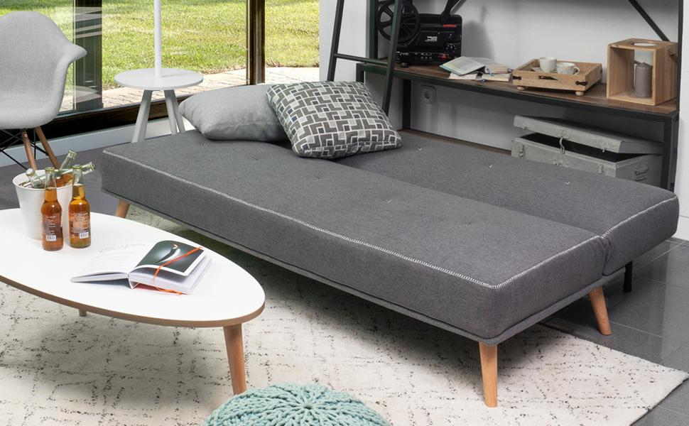 Homely - Sofá Cama de 3 plazas Apertura Clic-clac Phuket tapizado en Tela de 180 cm (Gris Oscuro)