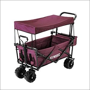 Enkeeo Carretilla Plegable para Camping, Carrito/carro plegable con Toldo de Protección UV, Capacidad de Carga y Espacio Grande, Color Vino