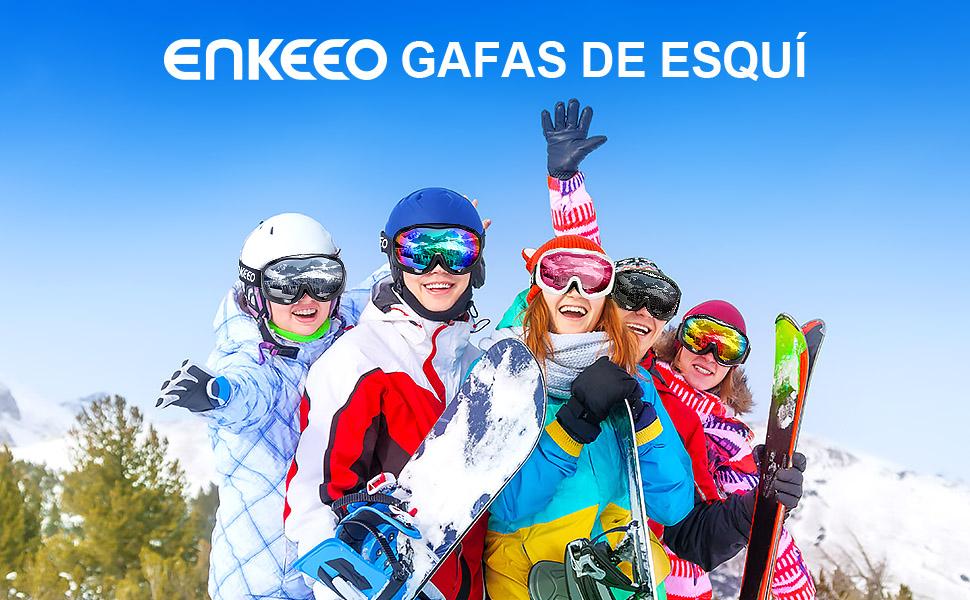 ENKEEO Gafas de Esquí Lente Doble Anti-Vaho 100% UV400 Protección
