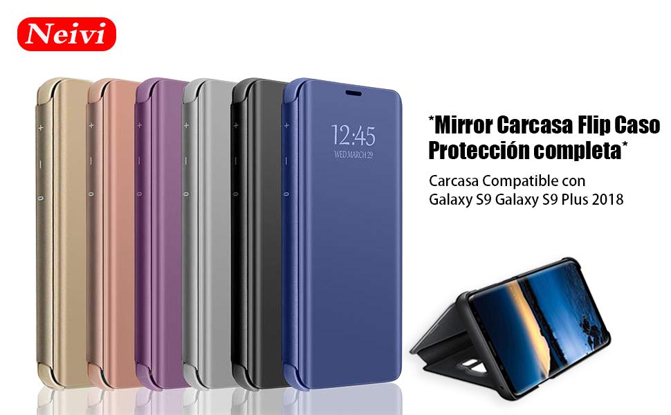 Carcasa Compatible con Samsung Galaxy S9 Plus Case Mirror Funda Inteligente Fecha/Hora Ver Funda de Espejo Flip Caso Book PC Hard Teléfono móvil Shell ...