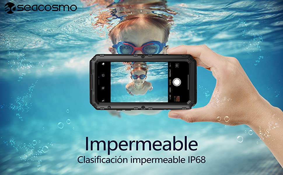 Seacosmo Impermeable Funda iPhone 7/8, Negro