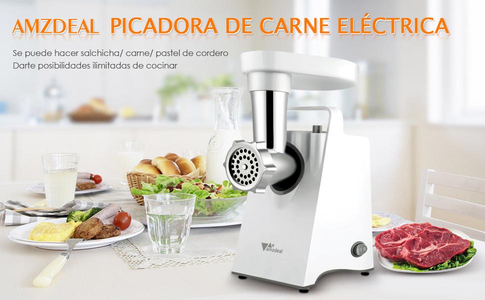 Amzdeal Picadora de Carne Eléctrica - Máquina de Carne y Embutidora de Salchichas con Kubbe Función Inversa, 3 Cuchillas de Corte de Acero Inoxidable