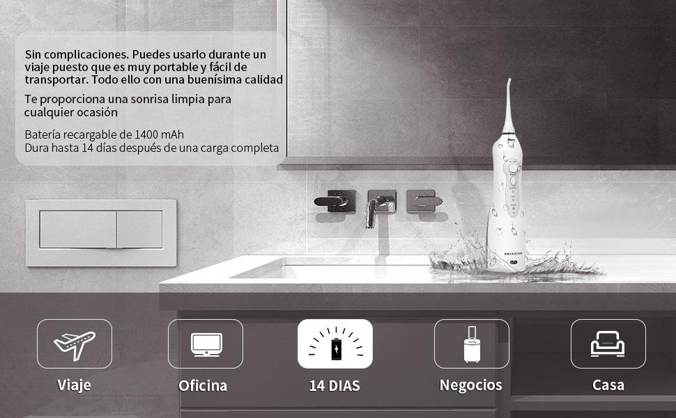 Irrigador Bucal, BROADCARE Irrigador Dental Portatil para Limpieza ...