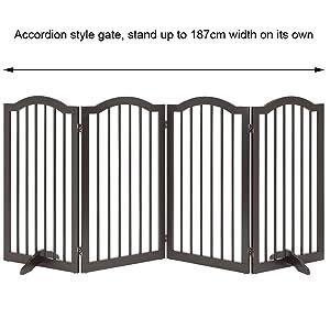 Unipaws Freestanding Pet Gate, Puerta para Perros Plegable para Escaleras (51cm W x 61cm H, 4 Panels, Espresso): Amazon.es: Productos para mascotas