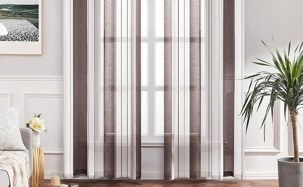 MIULEE Cortina Rayada Translucida de Dormitorio Moderno Visillo ...
