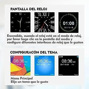 EasySMX [Regalos para Padre] Reloj Inteligente con Cámara Smartwatch Bluetooth en Batería 550mAh y Soporta TF SIM Facebook y Whatsapp Compatible con ...