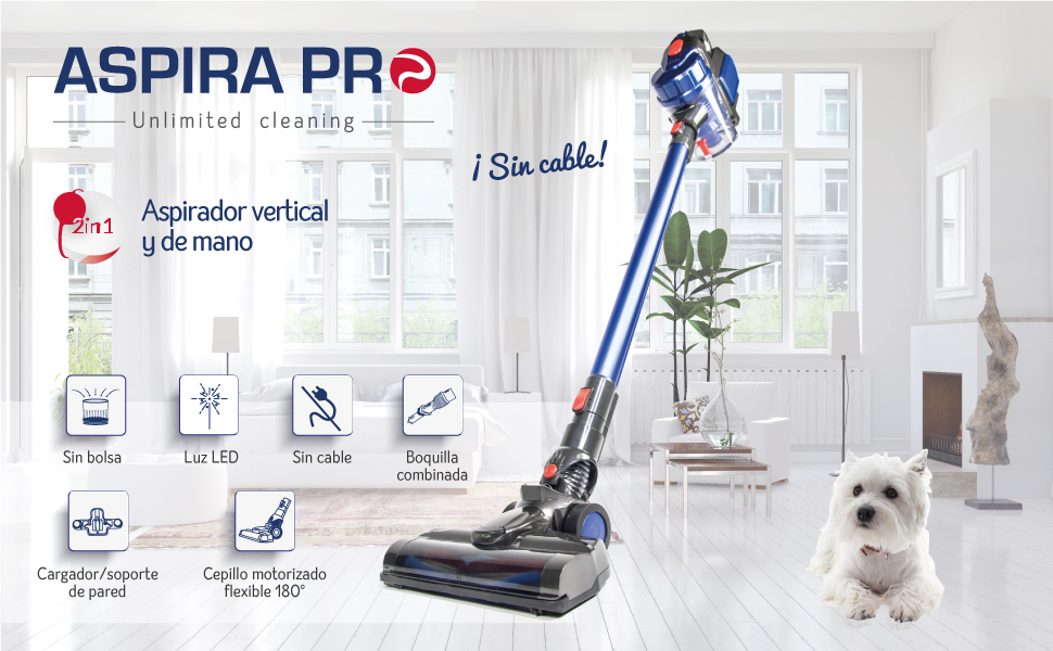 SAMBA Aspirador Vertical y de Mano Sin Cable Aspira Pro Unlimited Cleaning - Aspirador Escoba con Cepillo Motorizado Flexible 180º, Luz LED, 2 Niveles de Potencia, Boquilla Combinada, Soporte de pared: Amazon.es: