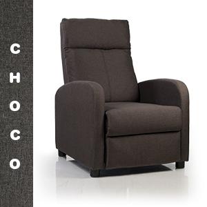 Don Descanso - Sillón Reclinable Tela Verona Chocolate, Sillón Relax con Reposapiés, Sistema de Apertura Push, Compacto, 2 Posiciones de Tumbada y ...