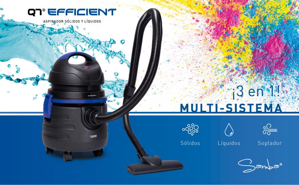 SAMBA Aspirador sólidos y líquidos Q7 Efficient,1000W, Filtro de ...