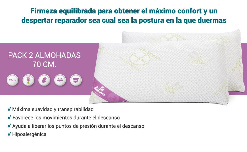 Don Descanso Pack 2 Almohadas Viscoelástica de Copos 70cm, Firmeza ...