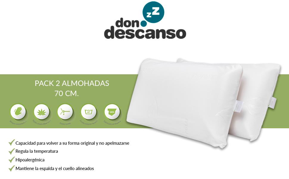 Almohadas Viscoelásticas Pack 2 Agatha con Doble Funda, 70cm ...