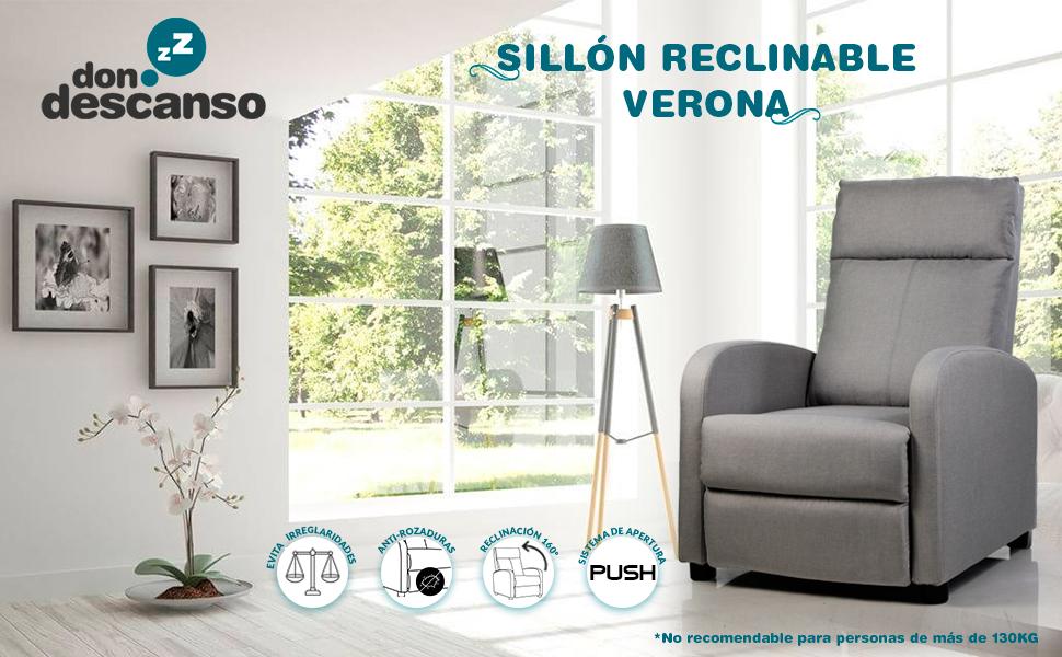 Don Descanso - Sillón Reclinable Tela Verona Gris, Sillón Relax con Reposapiés, Sistema de Apertura Push, Compacto, 2 Posiciones de Tumbada y Posición ...