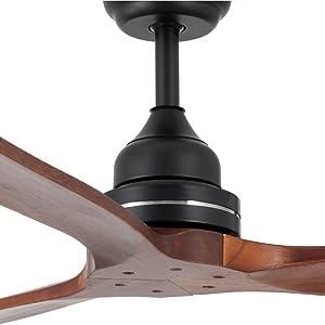 IKOHS - Ventilador de Techo con Mando a Distancia, 3 Aspas de Madera Natural, Potencia de 75W, Ultrasilencioso, 132 cm de Diametro, 3 Velocidades (Negro Mate): Amazon ...